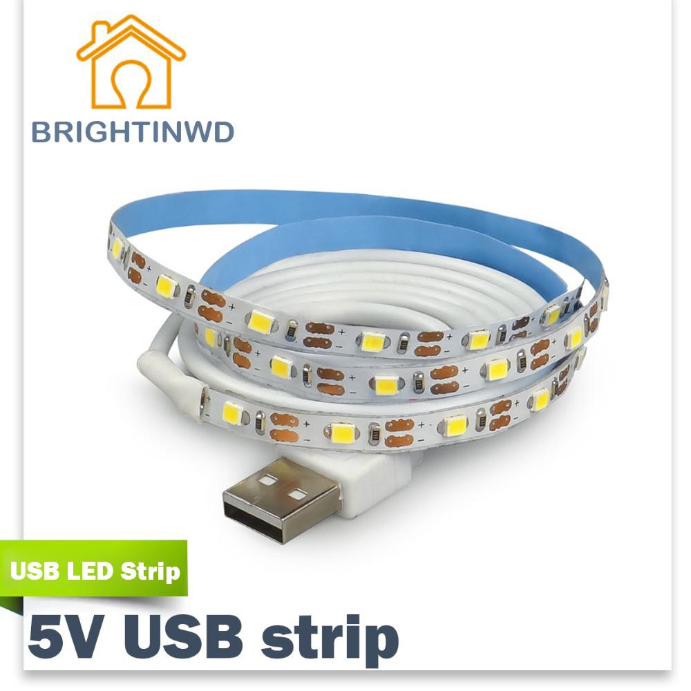 LED Strip USB SMD3528 Lights 50CM 1M 2M 3M Cable LED 5V USB Strip Light TV Background Lighting non Waterproof Holiday lights(China (Mainland))