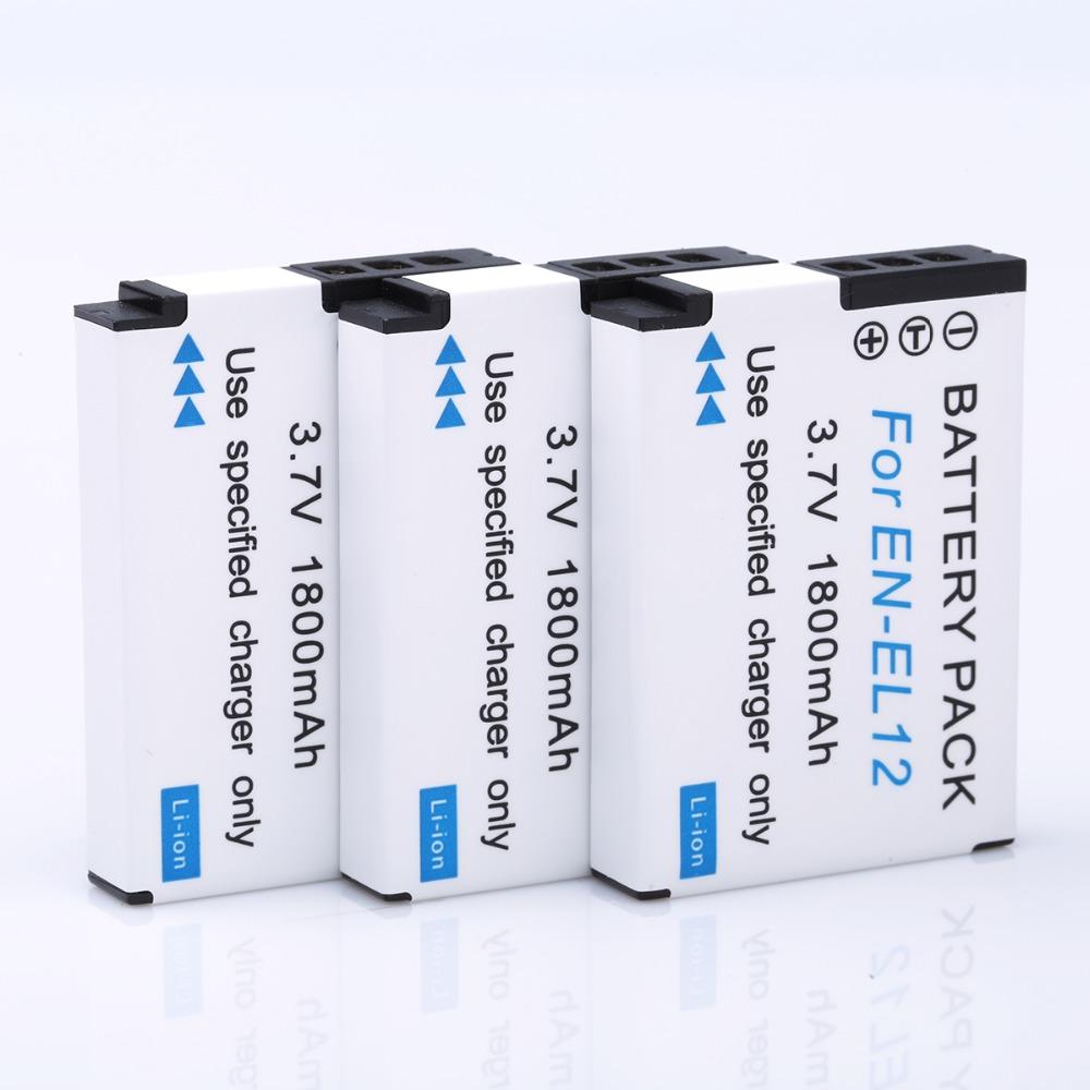 HI BTY 3pcs 1800mAh EN EL12 Li ion Battery for Nikon CoolPix S8000 S610 S620