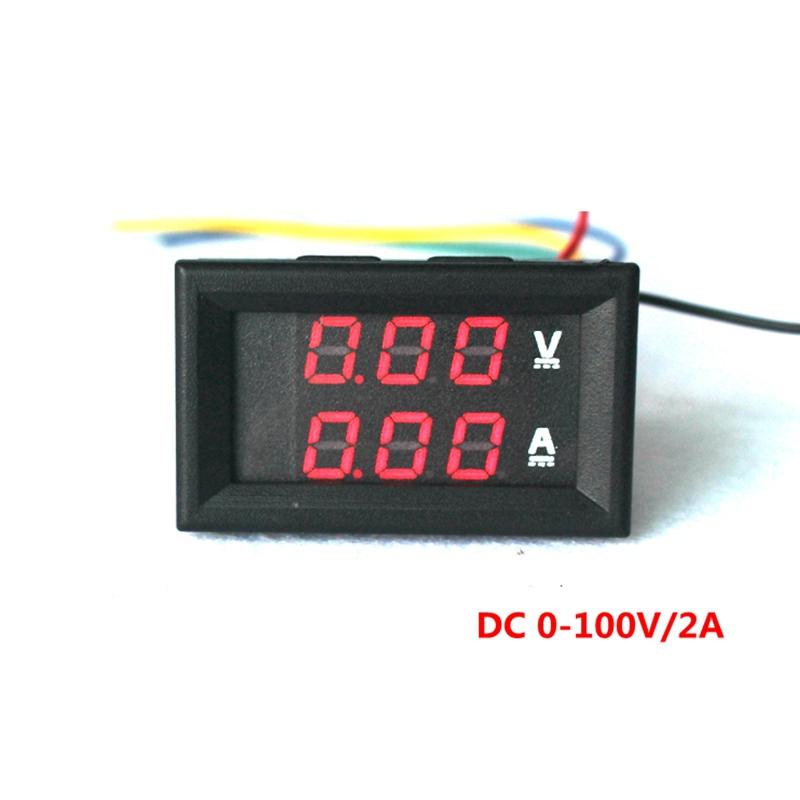 Free shipping DC0-100V/2A LED Digital DC voltmeter ammeter volt voltage ampere current meter car Battery Monitors