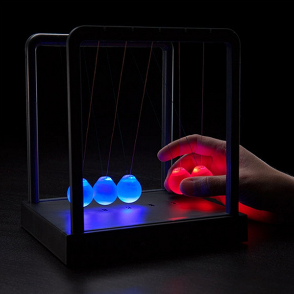 New Arrival High Quality Holiday Lights Kinetic Light Newtons Cradle Balance Ball Physics Science Toy Decor(China (Mainland))