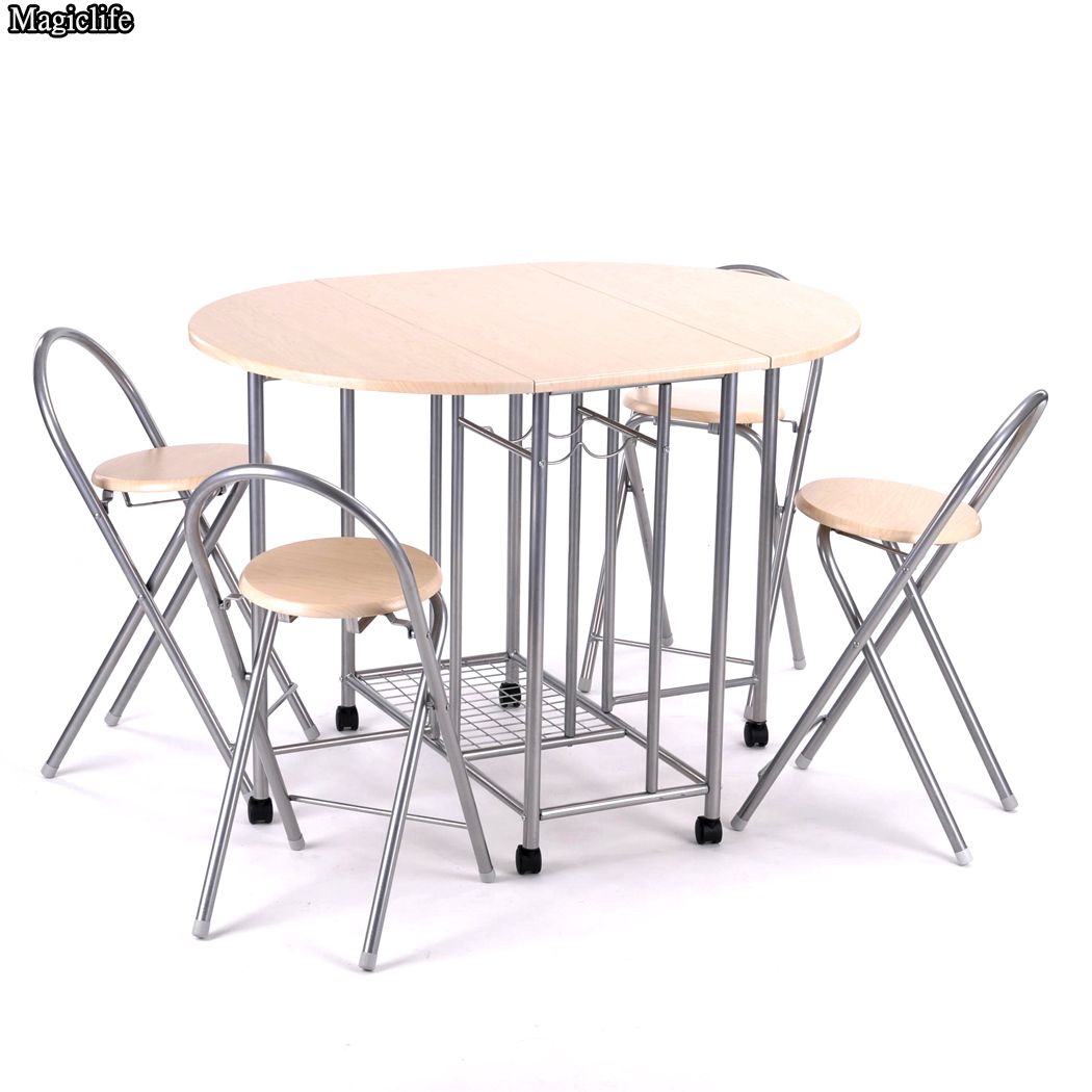 5pcs/set Home Family Folding Dining Table Set Desk + 4pcs Chairs Modern style Kitchen dining room funiture us6<br><br>Aliexpress