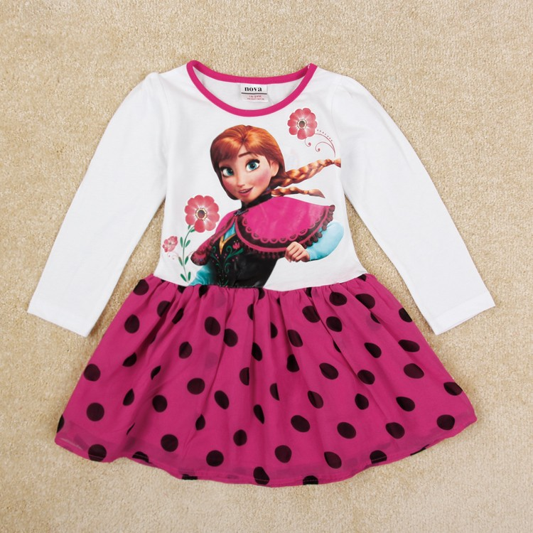 Girl Dress Anna Kids Cartoon Summer Style Nova Brand Girls Dress New 2015 Fashion Polka Dots Casual Baby Girls Knee Length Dress(China (Mainland))