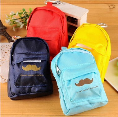 Free ship!1lot=10pc! The bearded Schoolbag storage Purses /small bag / portable mini coin key pouch(China (Mainland))