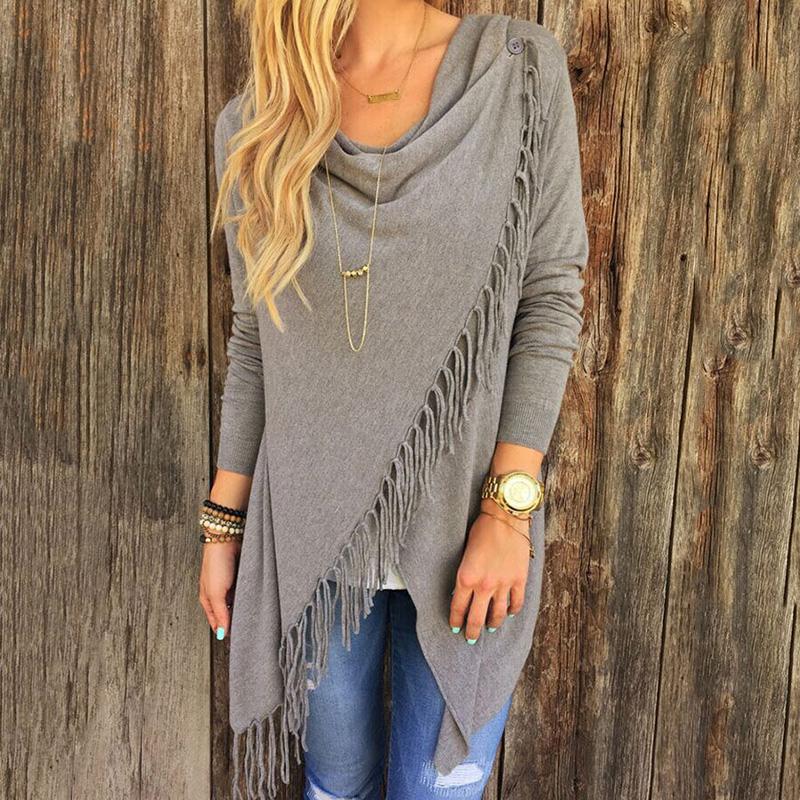 2016 New Womens Girls Autumn Spring Round Neck Long Sleeve Tassel Loose Cardigan Sweater Asymmetric Tops M L XL Gray Black White(China (Mainland))