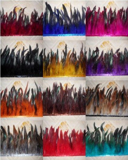 1 ярд / lot высота 14 - 19 см седло петух коке перо отделка петух бахрома боа танец платье головной убор DIY ну вечеринку украшения