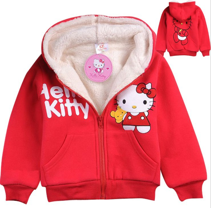 Children Outerwear Hello Kitty Thickening Lamb Flocking Sweater Fleece Hoodies Sportswear Girls Hooded Coat Clothes Hoody Jacket(China (Mainland))