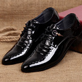 2017 Spring Hot Sale Men Work Business Leather Dress Shoes Pointed Toe Lace up Casual Patent
