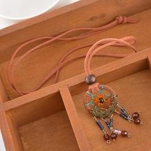 Light Brown Dreamcatcher Necklace Handmade Pendant Indian Dream Catcher Korea Velvet Jewelry 1PC
