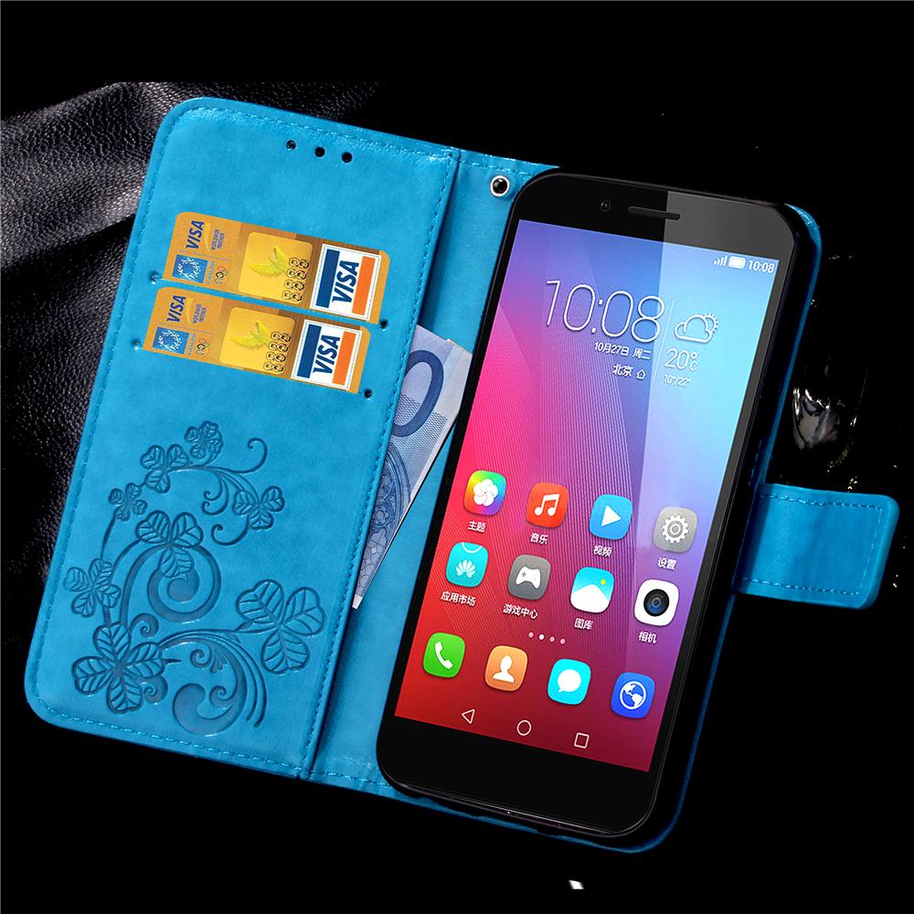 Повезло Клевера Накатки Кожаный Телефон Случае Для Huawei Honor 5X 5C X5 Huawei GR5 Случаях Матовое Задняя Крышка Мягкая Сумка Держатель Кошелек