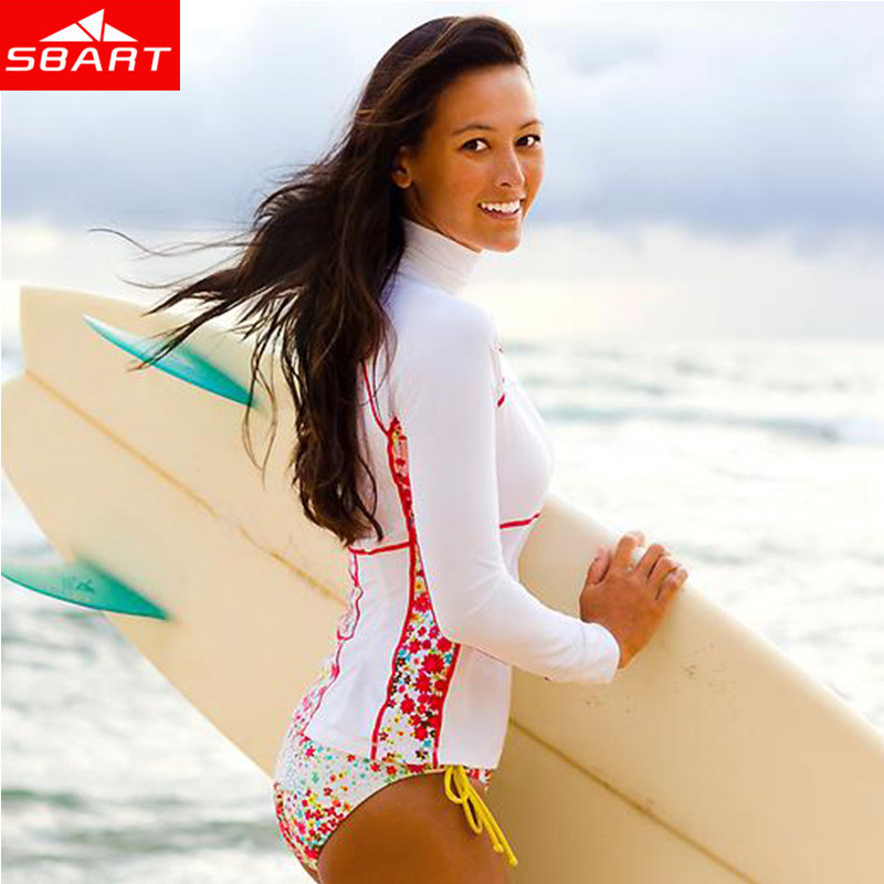 SBART 2015 Rashguard Swim Shirts Women Lycra Surf Top Long Sleeve Swimsuit Woman Rash Guard Surfing Diving Suit Top Upf 50+ L(China (Mainland))