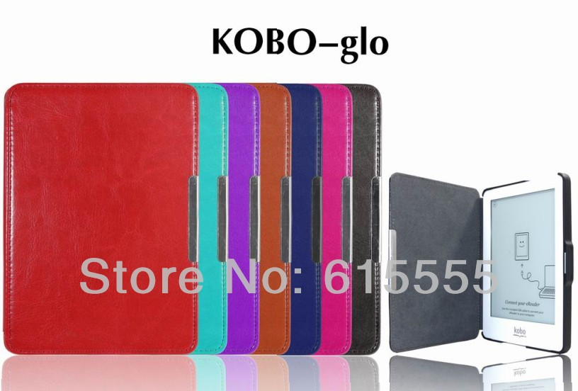 Top grade leather case cover for E-reader Kobo glo ebook case cover with hard housing 7 colour 200pcs/lot free shipping(China (Mainland))