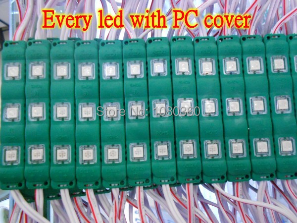 20 x Super bright Green 3 led pixel Module SMD 5050 led light 12V DC , Every led with pc cover Waterproof ,Newest(China (Mainland))