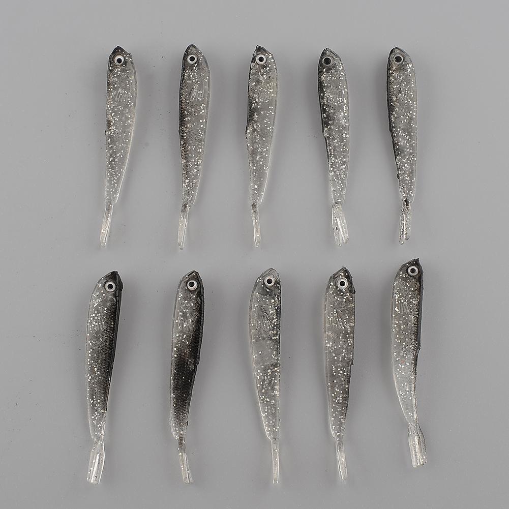 10Pcs 80mm Soft Silicone Tiddler Grey Bait Fish Fishing Saltwater Lure Baits Durable Kit Tackel Free