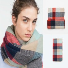 Amazing New Arrival Wool Blend Blanket Oversized Tartan Winter Scarf Women Wrap Shawls and Capes Plaid Pashmina Scarves UK