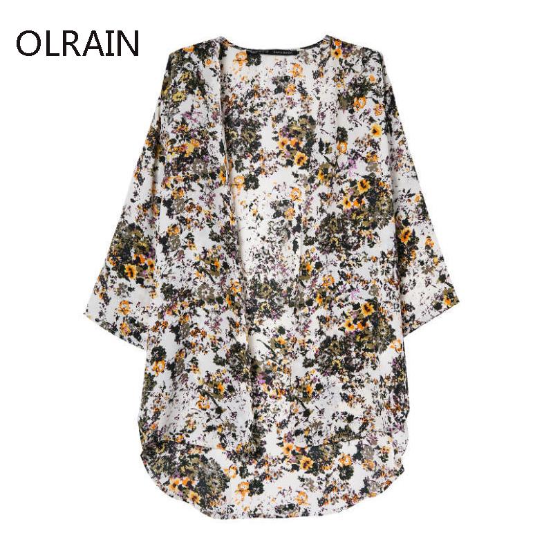 2015 Women Vintage Floral Print Loose Kimono Cardigan Coat Cape Jacket Casual Blouse Cape Tops(China (Mainland))