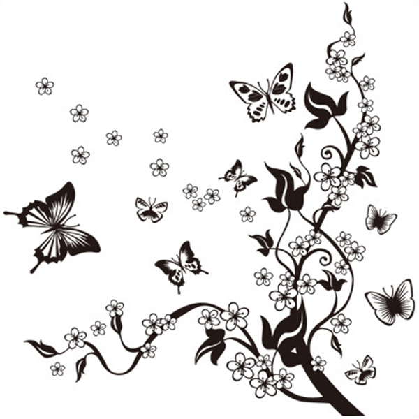 DIY Flower Vine Butterfly Wall Stickers Home Decor Art Decals 3D Wallpaper House Decoration Essential Product adesivo de parede(China (Mainland))