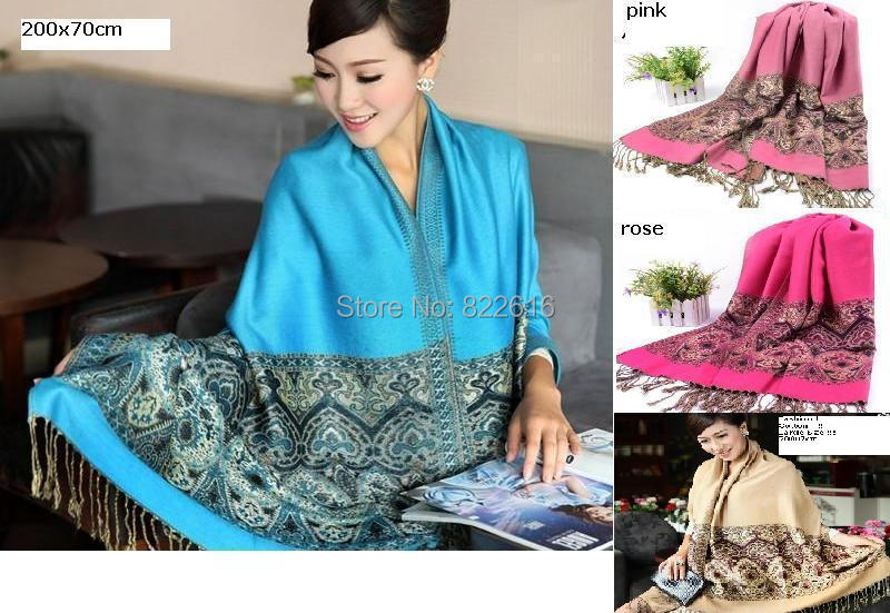 200x70cm Large Size Pashmina Cashmere Scarf 2014 New Fashion Long Women's Thermal Wrap Good Quality Lace Scarves(China (Mainland))