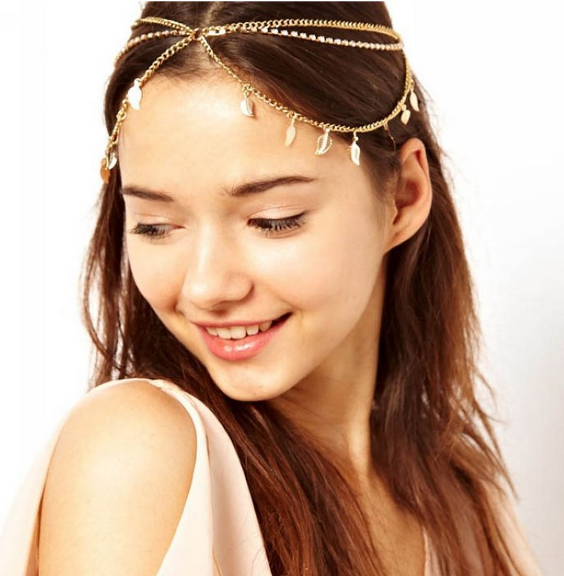 Free Shipping Jewelry Vintage Chain Hairband Multilayer Hair Accessories Grecian Leaf New 2014 forehead CF018(China (Mainland))
