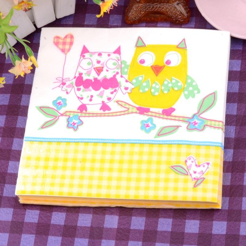 20pcs /pack*2 Color napkin owl love drawing handkerchiefs 33cm 2ply