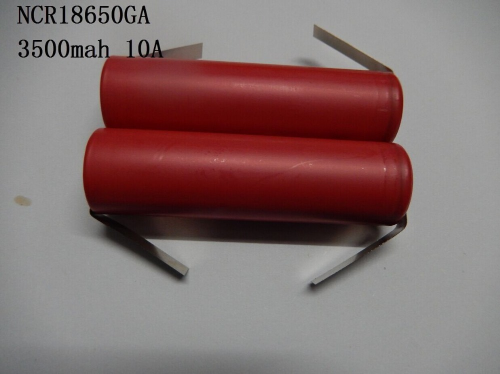 (50pcs/lot freight free)SANYO 18650 3500mAh NCR18650GA high rate battery cell 10A 18650GA with tabs(China (Mainland))
