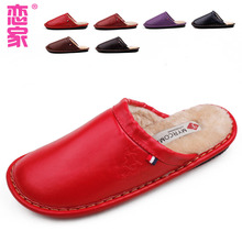fashion leather men and women couple drag Homesick burrs warm cotton slippers(China (Mainland))