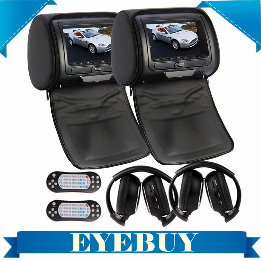 "Sony Lens 7"" HD universal LCD Car Auto Headrest CD DVD video Player Monitor Wireless car IR Headset headphone USB SD FM"