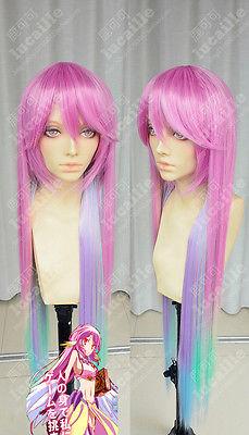free shipping~~~No Game No Life Fashion Rainbow Gradient Long Cosplay Wig