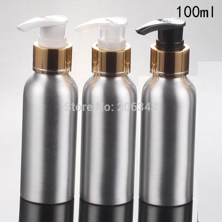 100pcs 100ml Aluminium bottle metal bottle with gold collar white/transparent/black press pump