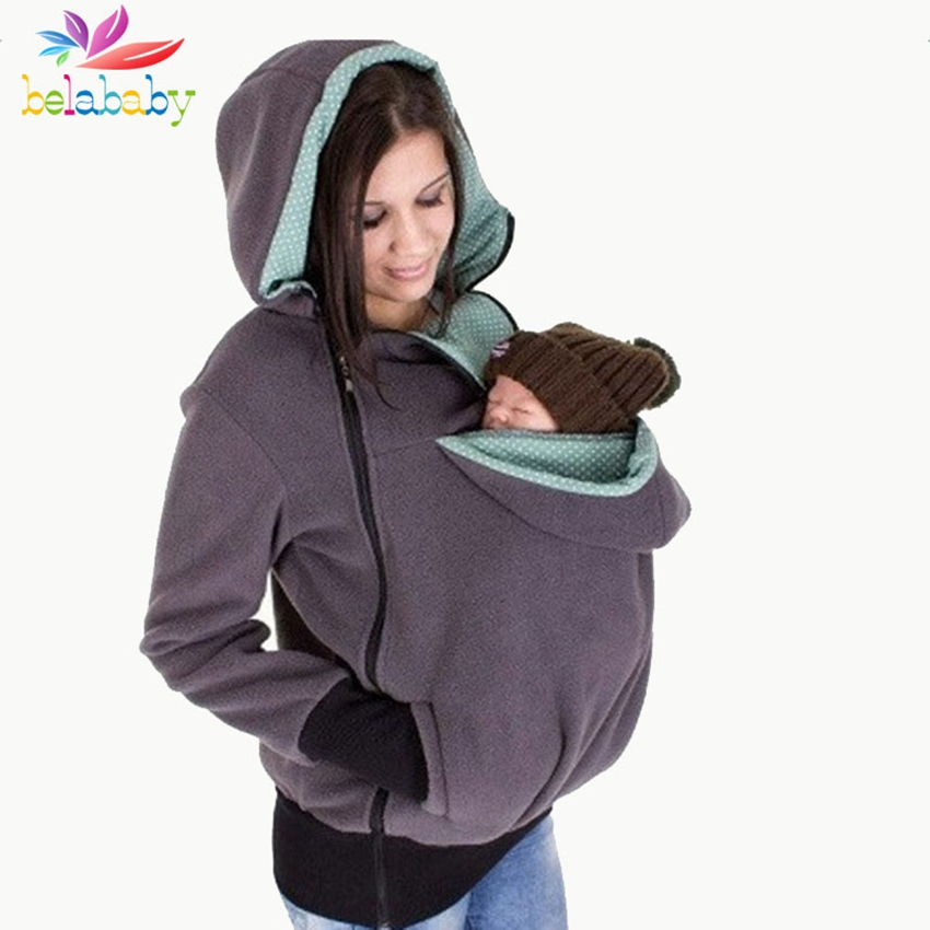 2017 Autumn Winter Maternity Clothes Warm Fleece Baby Carrying Coat Baby Carrier Hoody Kangaroo Coat for Mom and Baby Hoodies