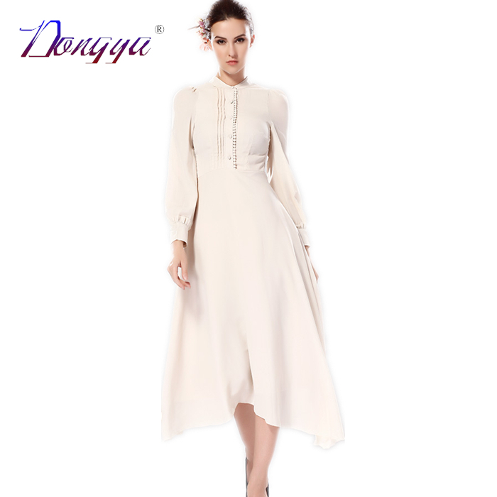 2015 New Fashion Spring Stand dresses Color Button Puff Sleeve Casual Women Long Dress Robe Femme Longue Vestido De Festa Longo(China (Mainland))