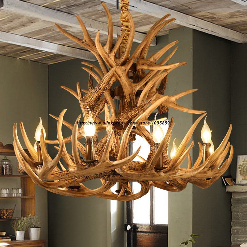 modern country rustic 9 arm antler chandelier light brown. Black Bedroom Furniture Sets. Home Design Ideas