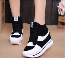 2016  Women Fashion Height Increasing Platform Wedges Shoes Slip On Womens Canvas Casual Shoes
