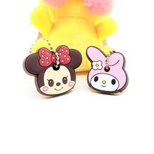 Nova 2 PCS Conjunto Tampa Chave Bonito Anime Urso Dos Desenhos Animados Olá Kitty Melody Totoro Silicone Chaveiros Chave Do Carro Animais anéis Chaveiro(China)
