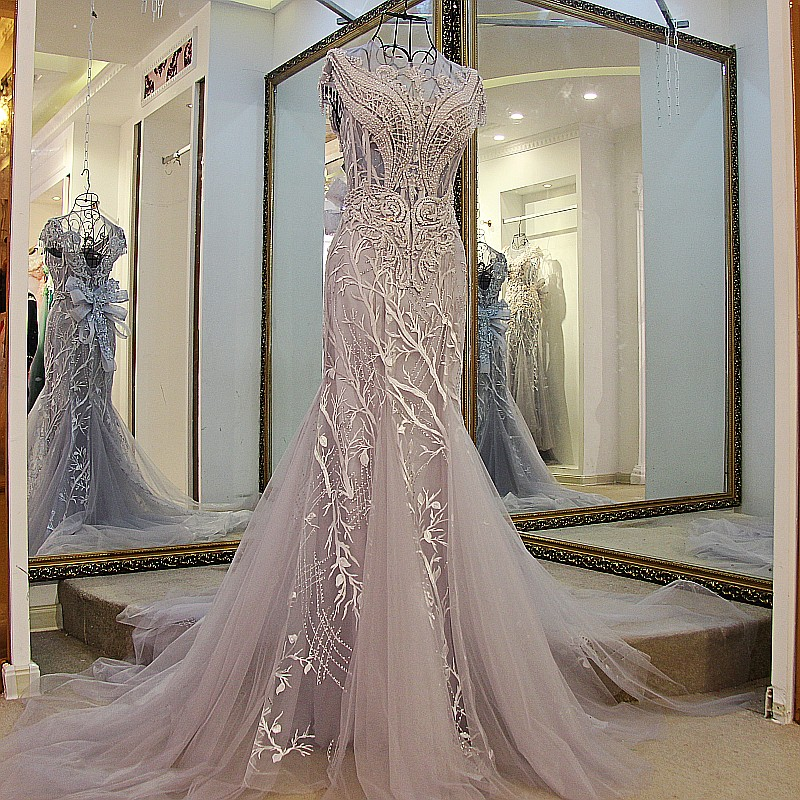 LS01980 Mermaid evening gown lace up back Cap sleeves O- Neck beaded formal evening gowns dresses Grey real photos(China (Mainland))