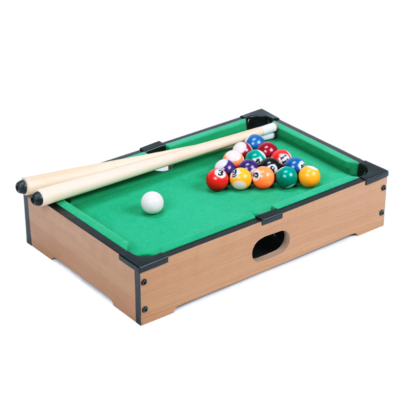 13.5 Inch Mini pool tabletop game set wooden toys for children mini billiard table with cues triangle and mini pool ball(China (Mainland))