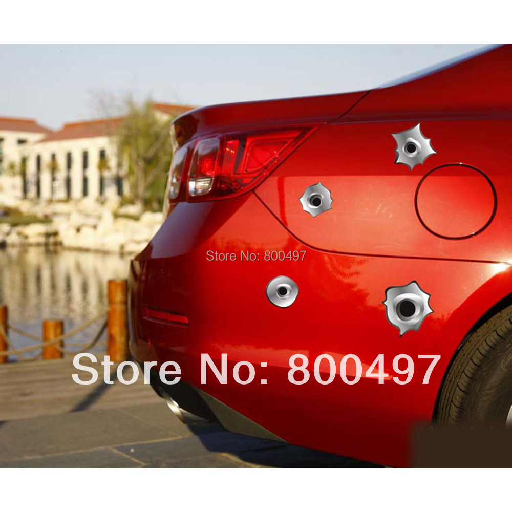 12 x Funny Simulation Gun Bullet Hole Stickers Car Decal Toyota Ford Chevrolet Volkswagen VW Honda Hyundai Kia Lada - Elifestyle Zone Co., Ltd. store