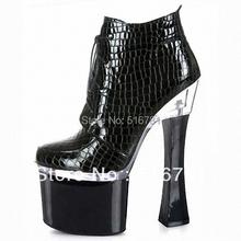 Nieve zapatos de fiesta 18 cm carrete heel punk botas classic short boots botas plataforma mujeres botas de moto 7 pulgadas rojo botas de invierno talla 12(China (Mainland))