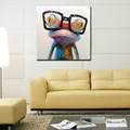 Happy Frog Wearing Glasses Cartoon Animal Hand painted Oil Painting on Canvas Modern Abstract Wall Art
