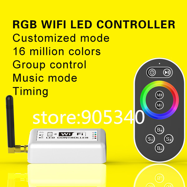 Гаджет  16 millions color RGB WIFI LED controller with remote,Group or timing control music mode for Iphone,Android mobile ,DC7.5-24V None Свет и освещение