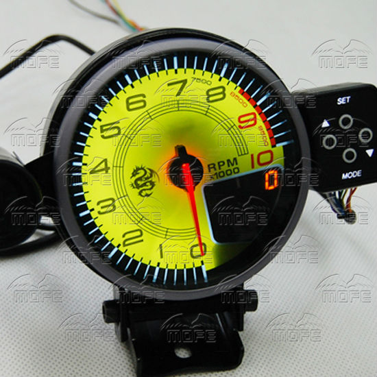 Special Offer MOFE Yellow Face White Blue Red LED + Yellow Peak LCD + Shift Light 95mm Car Tachometer Gauge Meter(China (Mainland))