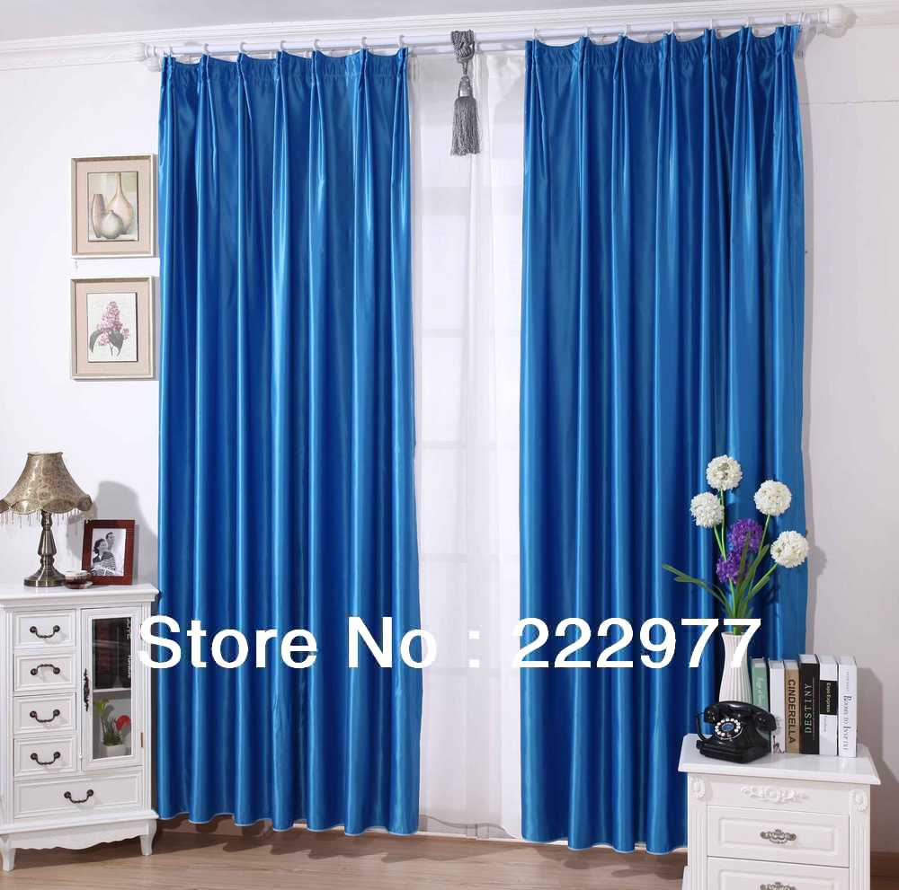 Free Shipping 100 Polyester High Precision Curtain Sapphire Blue Living Room Window Curtain In