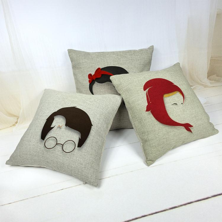 Hot Sale Thick and Thin Cotton Linen Decor Pillow New Home Fashion Gift 45cm Simple black lady silhouette Office Sofa Cushion