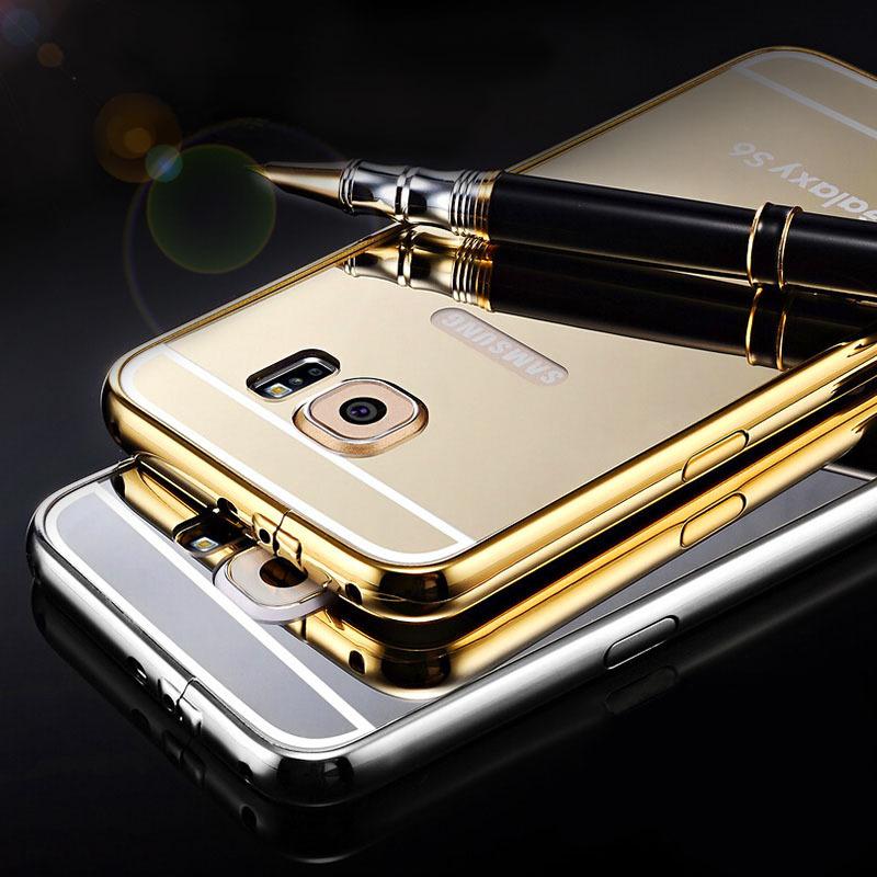 S6 S6 Edge Tomkas Mirror Aluminum Case For Samsung Galaxy S6 / Samsung Galaxy S6 Edge Metal Frame Ultra Slim Acrylic Back Cover