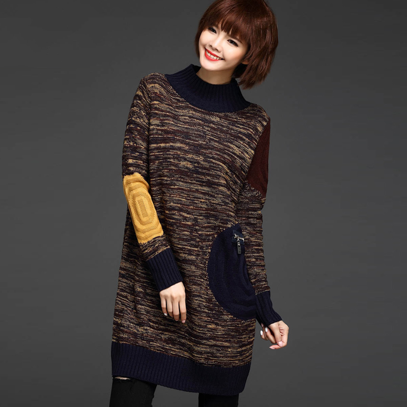 Korean fashion hit color long knitted sweater women autumn turtleneck loose pullover punk sweaters long sleeve zipper pull femme(China (Mainland))