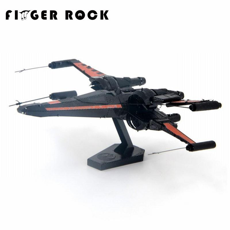 Finger Rock 3D Metal Puzzle POE DAMERON Xwing Fighter Stainless Steel Model Kid DIY Assembly Jigsaw Toy Christmas Gift(China (Mainland))