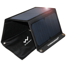 Travelling Solar Cell Panel 21 Watts PowerGreen Waterproof Folding Solar Power Bank Solar Smart Charger for Phone