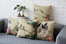 Flowers and Birds in Ink Painting style cushion covers