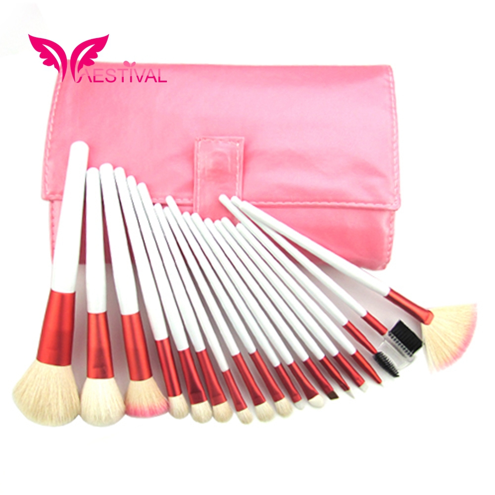 Xaestival Professional 18 Pieces Makeup Brushes Set with Pink Case Free Shipping(China (Mainland))