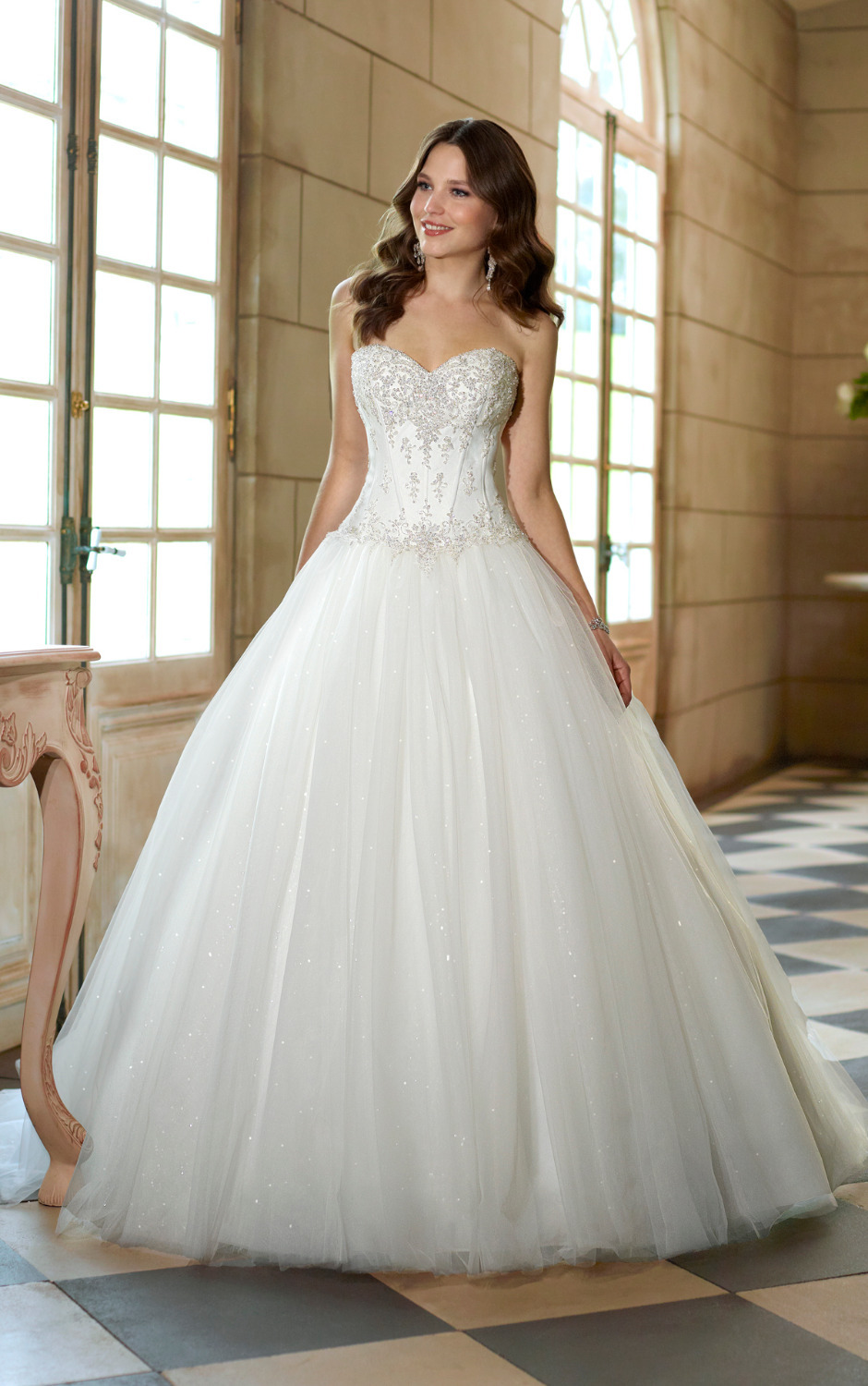 2014 sweetheart beaded lace sparkle ball gown princess for What is my wedding dress size