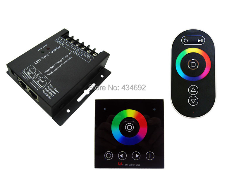 Free Shipping DC12-24V SYNC RF RGB LED CONTROLLER + Wall Touch Panel + Remote Control Common Anode(China (Mainland))
